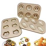 RockTrend Nonstick 6-Cavity Mini Donut Pan, Carbon Steel Multi-shape Cake Baking Pan, Madeleine Pan for Mini Cake Baking Making (Set of 3)