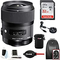 Sigma 35mm F1.4 ART DG HSM Lens for NIKON DSLR Cameras w/ Sigma USB Dock & 32GB Travel Bundle