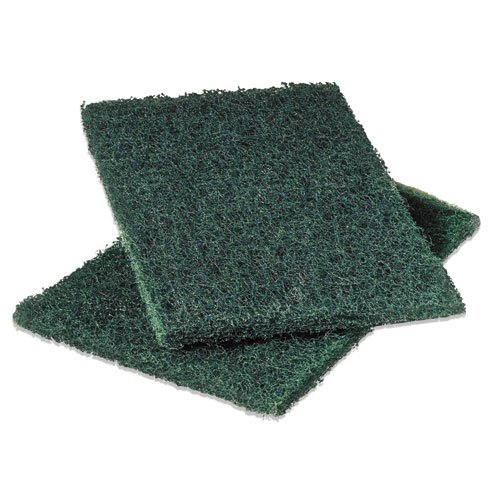 Commercial Heavy-Duty Scouring Pad, Green, 6 x 9, 12/Pack, Sold as 1 Dozen ()
