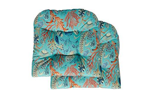 (RSH Decor 2 Wicker Tufted Seat Cushions ~ Sun Dream Coastal Ocean Beach Tropical Blue, Peach, White, Cream, Orange, Coral, Red ~ Ocean Life ~ Coastal ~ Coral Reef)