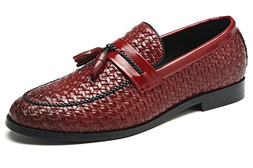 Santimon Loafers Men Fashion Woven Dress Driving Flats Slip on Moccasins Casual Shoes Red 6.5 D(M) US