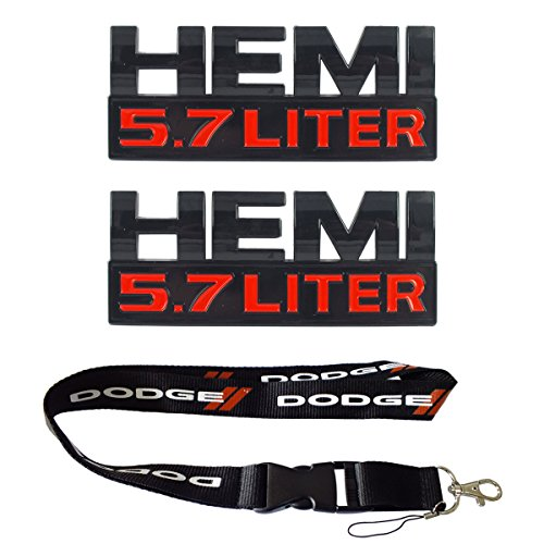 New 1pcs Dodge Keychain Lanyard Badge Holder + 2pcs set Black HEMI 5.7 LITER Emblem Decal Badge Sticker Fit For -