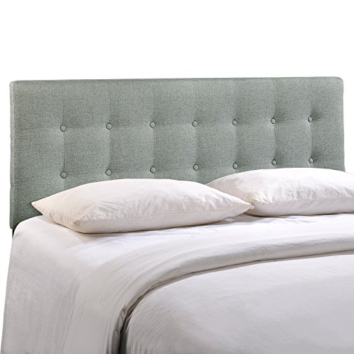 Modway Emily Queen Upholstered Linen Headboard in Gray (Bedroom Queen Headboard)