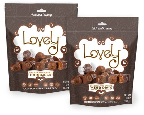 (Chocolate Swirl Caramels (2-Pack) - Lovely Co. (2) 6 oz. Bags - Old Fashioned Style, Authentic Chocolate Caramel Candies - Non-GMO, Soy & HFCS- Free, RBST-Free, Gluten-Free and Kosher!)