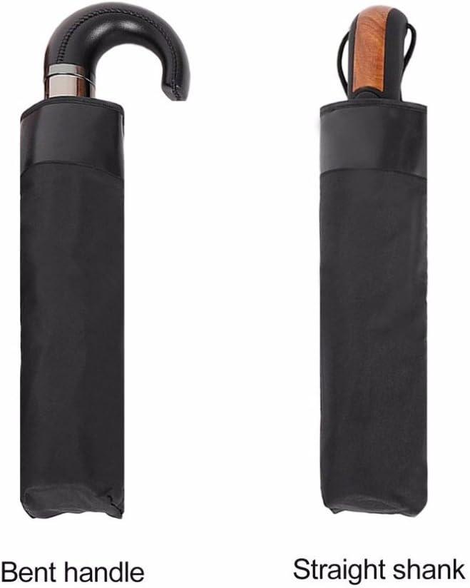 Hook Straight Imitative Wood Handle 10 Rib Strong Automatic Umbrellas Wind Resistant Black Three-Folding Sun Rain Umbrella