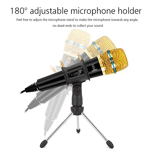 Professional Condenser Microphone Recording with Stand for PC Computer iphone Phone Android Ipad Podcasting, Online Chatting Mini Microphones by XIAOKOA by XIAOKOA (Image #2)