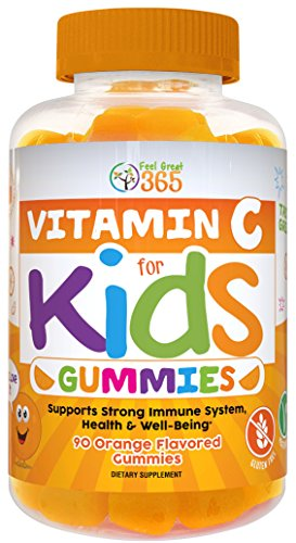 Vitamin C Gummies for Kids by Feel Great 365, 90 Orange Flavored Gummies - Immunity Support, Plant-Based, Gluten Free, Non GMO, Pectin Based