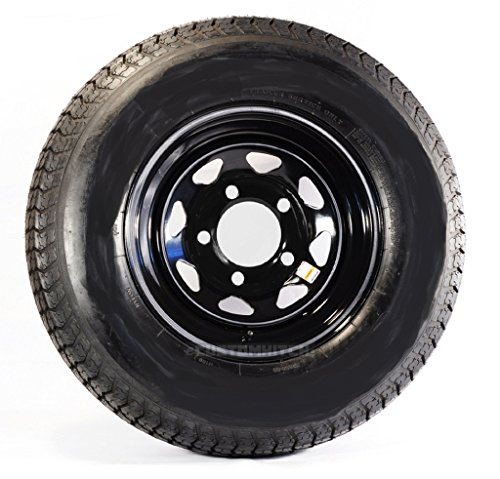 Radial Trailer Tire On Black Rim ST225/75R15 Load D (5 Lug On 4.5'') Spoke Wheel by eCustomRim (Image #3)