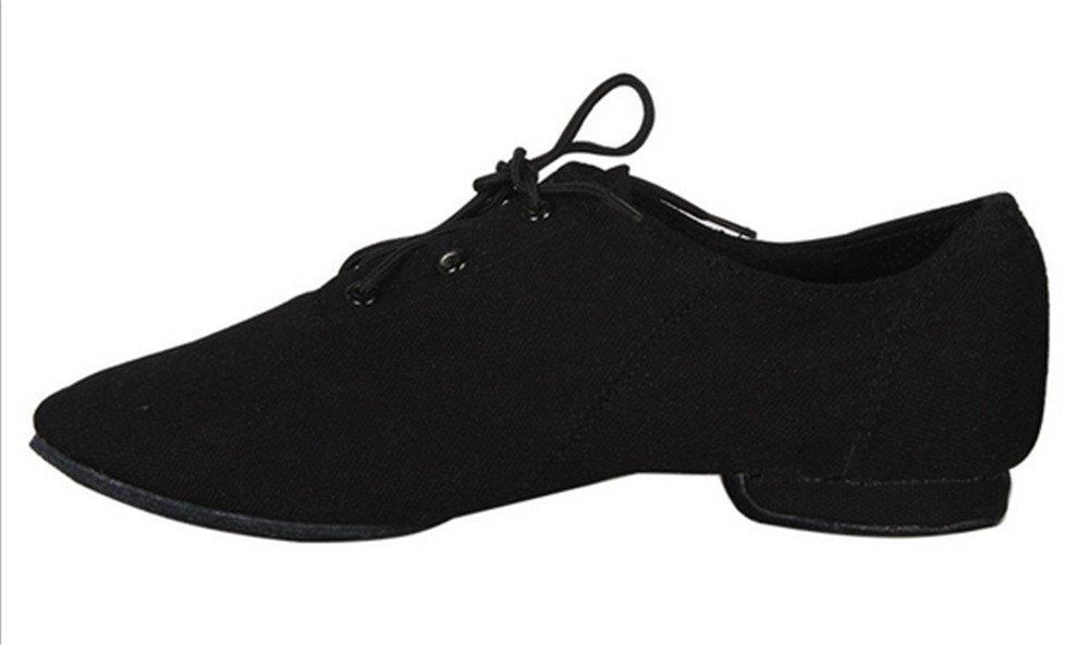 Lace-up Black Jazz Practice Dance Shoes Flat Canvas Boots Split-sole for Women(6.5, Black)