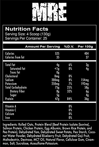 Cheap Redcon1 – MRE Real Whole Food – Chicken Protein, Salmon Protein, Oatmeal Powder & Dehydrated Sweet Potato – Real Whole Food Protein Powder Meal Replacement (Blueberry Cobbler, 7.15 lb)