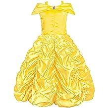 Padete Little Girls Princess Belle Yellow Party Costume Off Shoulder Dress