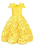 Padete Little Girls Princess Belle Yellow Party Costume Off Shoulder Dress (Yellow, 4 years/110cm)