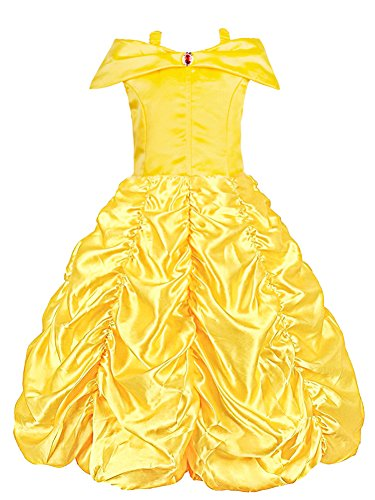 Padete Little Girls Princess Belle Yellow Party Costume Off Shoulder Dress (Yellow, 5 years/120cm) ()
