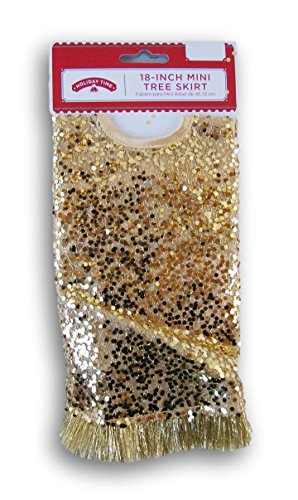 (Holiday Time 18 Inch Miniature Christmas Tree Sequin Glitter Skirt (Gold) )