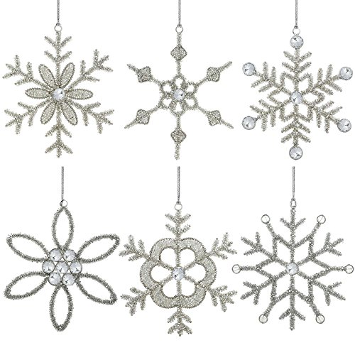 Set of 6 Handmade Large Snowflake Iron and Glass Pendant Christmas Ornaments Tree, 9 Inches (Set Snowflake Ornament)