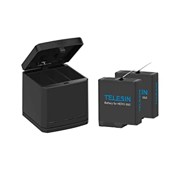 AFAITH Cargador de batería para gopro, Cargador rápido de 3 canales + 2 baterías de Las PC para Accesorios para cámaras GoPro Hero 5/6/7 GP076