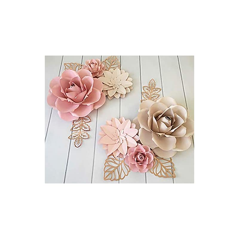silk flower arrangements bubbapaint. 3d paper flower decorations for wall. backdrop for décor. giant size pre-assembled flower. girl nursery wall decor. wedding, bridal shower, baby shower, rooms. pink and cream
