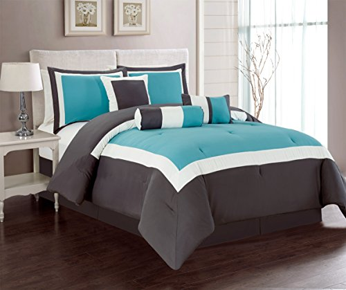 7 Piece Set Bed Linens (7 Piece Oversize AQUA BLUE / GREY / WHITE Color Block