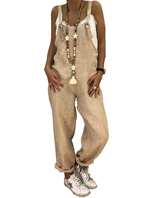 e55451c0 Mujeres Pierna Ancha Pantalones De Lino del Mono Holgado Casual Petos Tallas  Grandes: Amazon.es: Ropa y accesorios