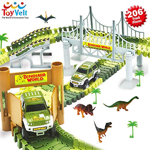 Awesome Dinosaur Track Toy Set with 206 Unique Pieces | Dinosaur Train Track for Kids & Toddlers | Jurassic World Toys Set for Christmas & Birthday Gift | Safe Durable STEM Play Set for Boys & Girls -