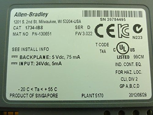 Allen Bradley 1734-Ib8 Series D Point Digital Input Module 24Vdc 8Ch. 1734-Ib8 Series D by Allen-Bradley (Image #1)