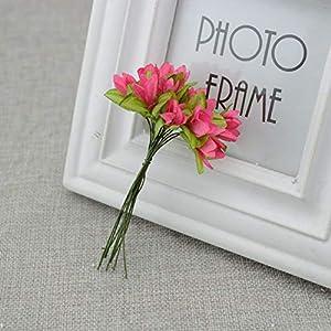 GSD2FF 12pcs/lot Artificial Flower Cherry Simulation Silk Wreath Material Bride Wrist Flower Wedding Flower Decoration,Rose red 99