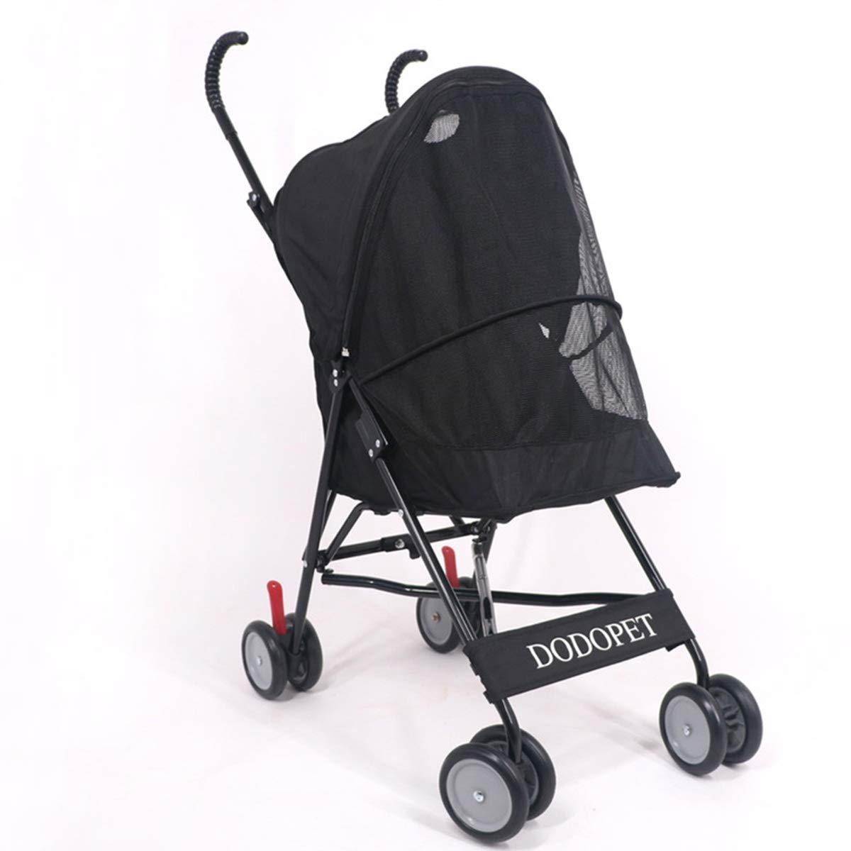 Black shanzhizui four-wheeled pet stroller dog cart cat stroller