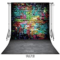 WOLADA 10X10FT Colorful Brick Wall Wood Floor Vinyl Photography Backdrop Studio Photo Props Background 9678