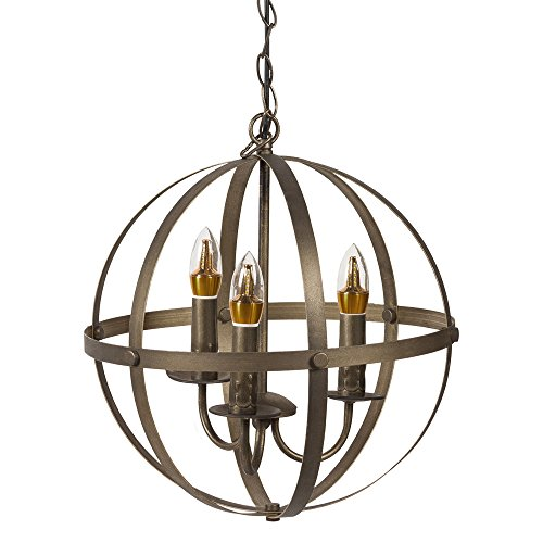 NEUTYPE Orb Chandelier 3-Lights Ceiling Pendant Chandelier Metal Hanging Fixture Oil Rubbed Bronze 3 Light Entryway Hanging