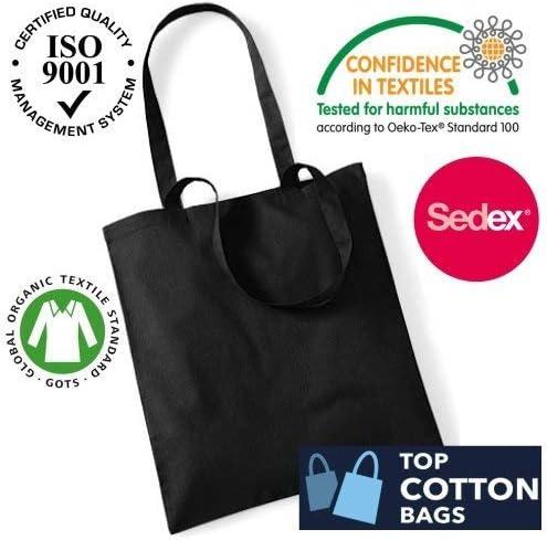 Paquete de 10 bolsas de algodón para la compra de calidad superior, respetuosas con el medio ambiente, ideales para imprimir y decorar negro: Amazon.es: Hogar