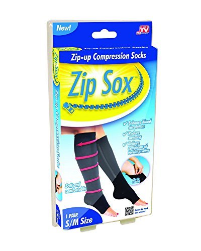 Zip Sox Compression Socks by BulbHead - Pair, S/M, Black