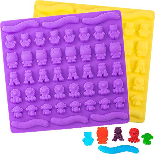 BAKHUK 2 Pack Gummy Bear Molds Candy Chocolate Molds Food Grade Silicone, 6 Different Animals, Ice Cube Making Tray, for Cake Decoration, Gummy Making