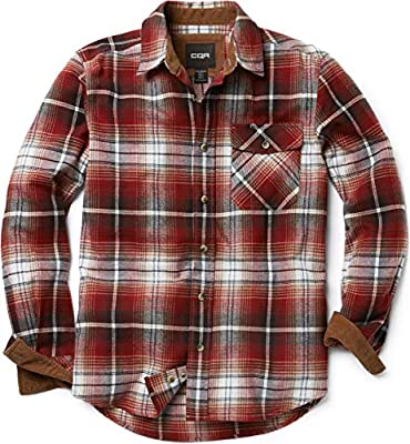 CQR Men's Flannel Long Sleeved Button-Up Plaid All-Cotton Brushed Shirt