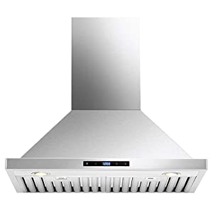 "DKB 30"" Inch Range Hood Wall Mounted Brushed Stainless Steel Kitchen Vent With 600 CFM"