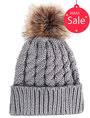 Aedvoouer Women Winter Cable Knit Slouchy Pom Pom Beanie Hat with Faux Fur Warm Snow Ski Skull Cap (Grey) ()