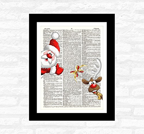 Santa Raindeer DICTIONARY ART PRINT - Authentic Upcycled Vintage Dictionary Page Art – Wall Decoration – Print for Office Bedroom Kitchen Ready-to-Frame Wall Art for Home Decor (Raindeer Decorations)