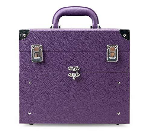 化粧箱、大容量の二重層の携帯用化粧品の箱、携帯用旅行化粧品袋の収納袋、美の構造の釘の宝石類の収納箱 (Color : Purple) B07NQ2WW7Y Purple