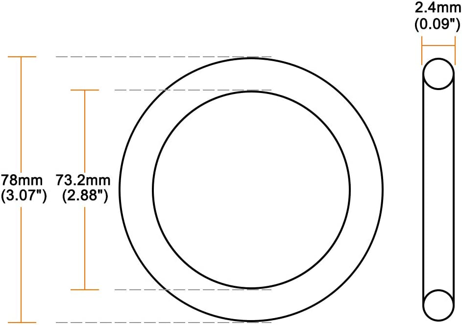 70.2mm Inner Diameter 2.4mm Width 75mm OD uxcell O-Rings Nitrile Rubber Round Seal Gasket Pack of 10