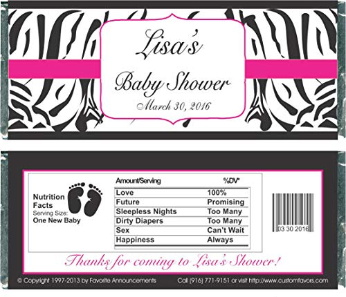 Party Favors Zebra Themed Baby Shower Candy Bar Wrappers, Personalized (set of 12)(W696/K139)