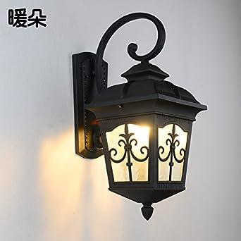 SADASD Lámpara LED Impermeable exterior puerta balcón moderna escalera Pasillo lámparas de pared simple, pequeña de arena negra con fuente de luz 7WLED: Amazon.es: Iluminación