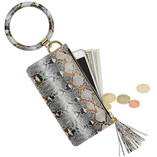 Key Ring Bracelet, YUOROS Wristlet Keychain Bangle Bracelet with Phone Purse for Women(White Snakeskin)