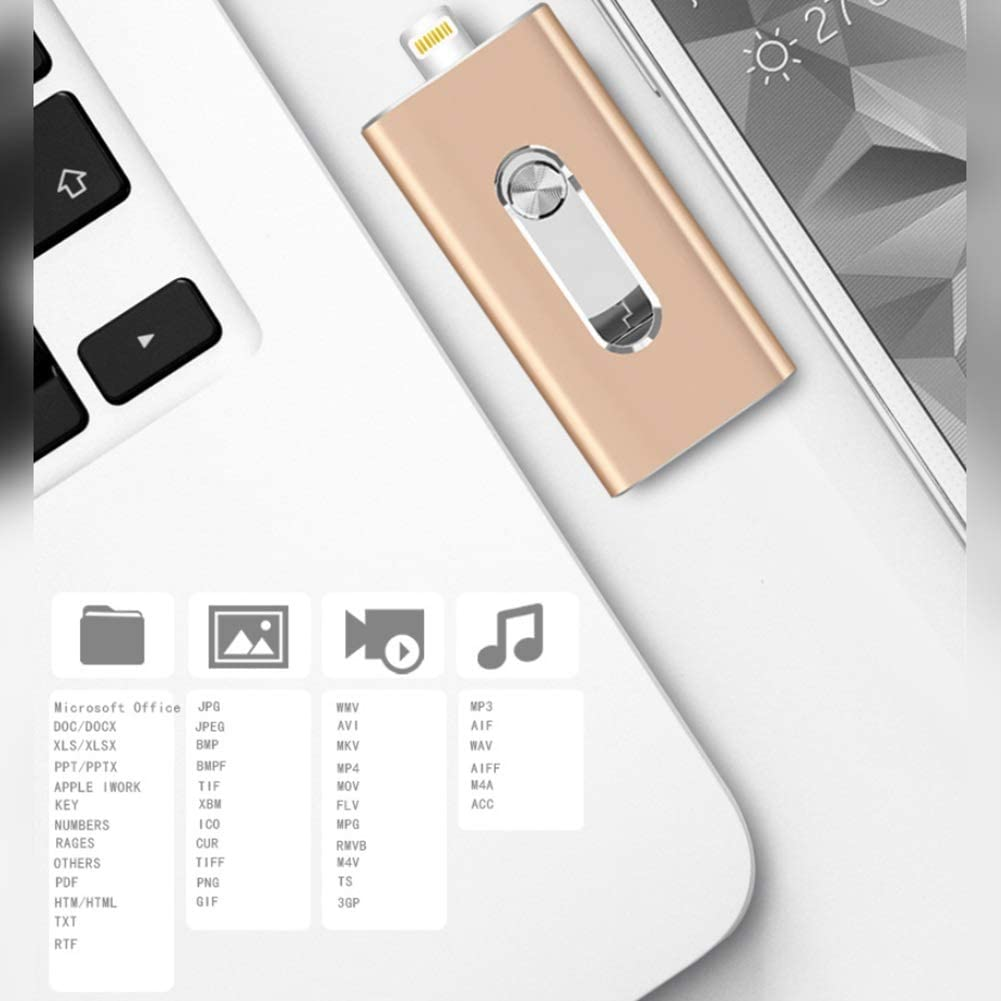 Computer Metal U Disk 8//16//32GB 3-in-1 Push-Pull 64//128//256GB OTG for iOS//Android Mobile Phone YKK USB 2.0 Flash Drive Color : Gold, Size : 128GB