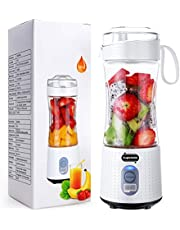 Supkitdin Portable Blender Personal Size Blender Handheld Fruit Juicer USB Rechargeable 4000mAh battery, Mini Blender Cup for Smoothie, Fruit Juice, Milk Shakes Max Capacity 380ML, Six 3D Blades for Great Mixing White