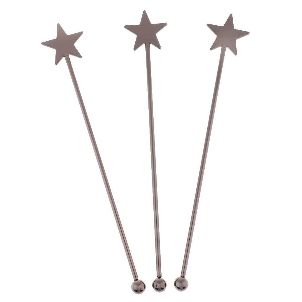 SM SunniMix 15.5cm Stainless Steel Star Bar Swizzle Stick Cocktail Martini Picks Coffee Stirrers