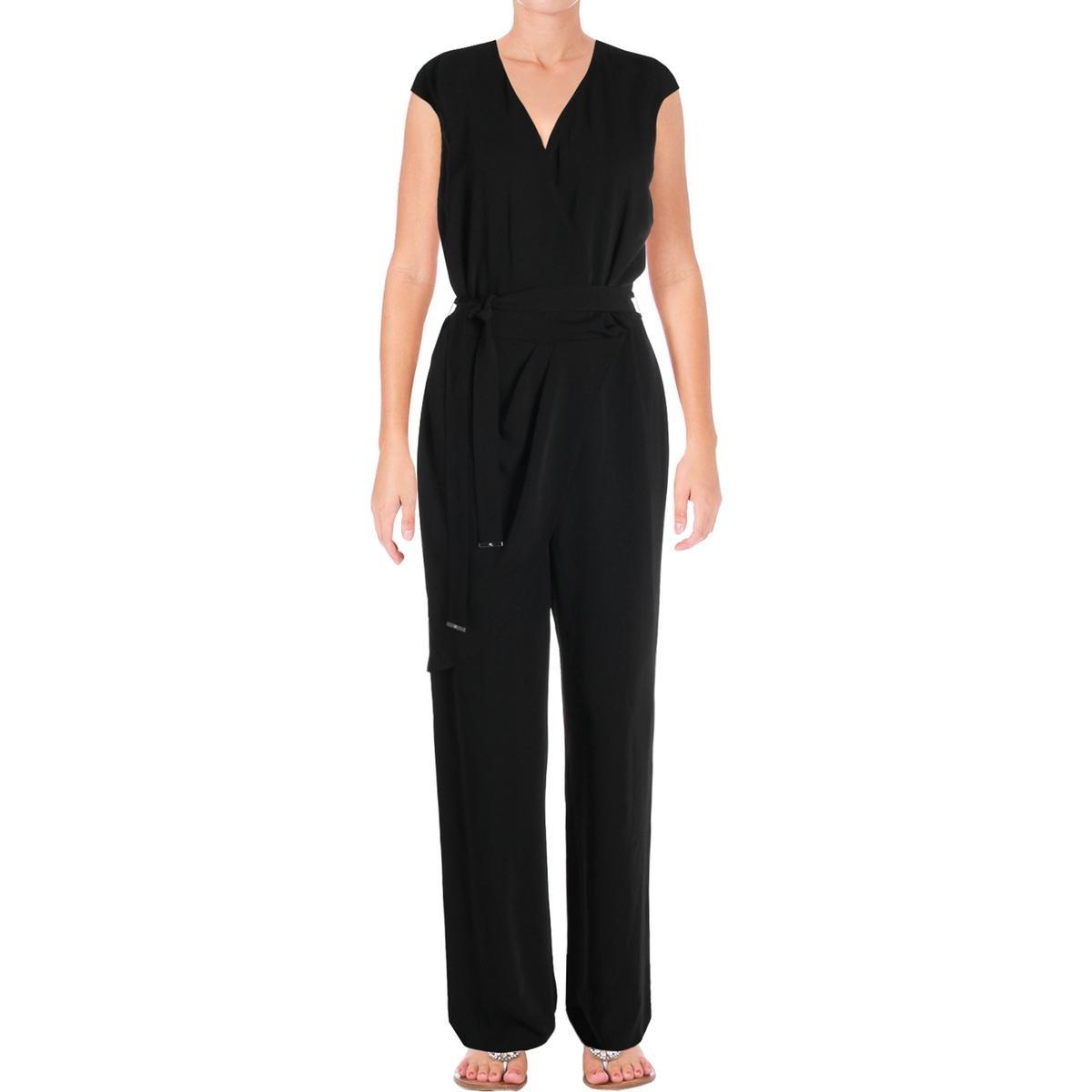 af36d67c07d Amazon.com  LAUREN RALPH LAUREN Womens Awinita Crepe Wide-Leg Jumpsuit  Black 12  Clothing