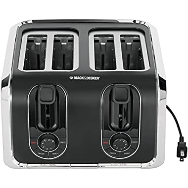 BLACK+DECKER TR1400SB 4-Slice Toaster, Bagel Toaster, Black/Stainless Steel