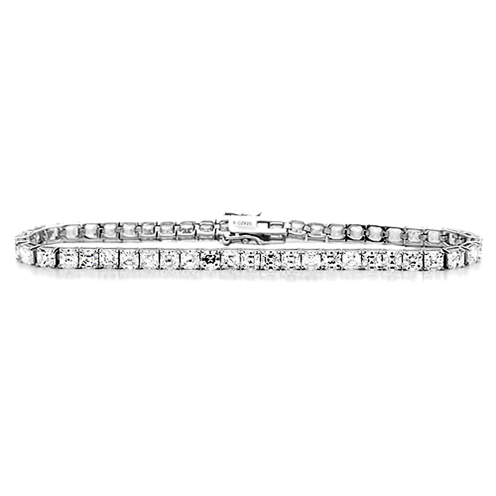Diamoni Collection Cubic Zirconia Princess Cut 8 Inches Rhodium Plated Sterling Silver Tennis Bracelet