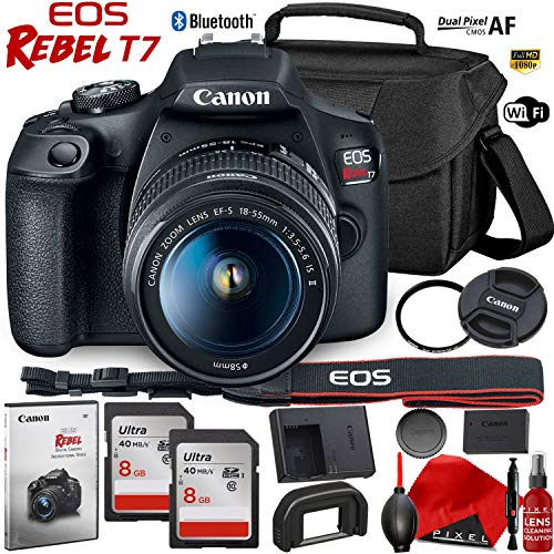 Canon EOS Rebel T7 DSLR Camera with 18-55mm Lens – 24.1 MegaPixel – HD Video – Wi-Fi – Bundle