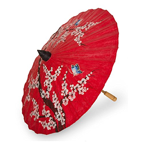Handcrafted Parasol - NOVICA Handcrafted Red and White Cherry Blossom Flower Paper Parasol with Blue Butterflies and Bamboo Handle, Cherry Blossoms'