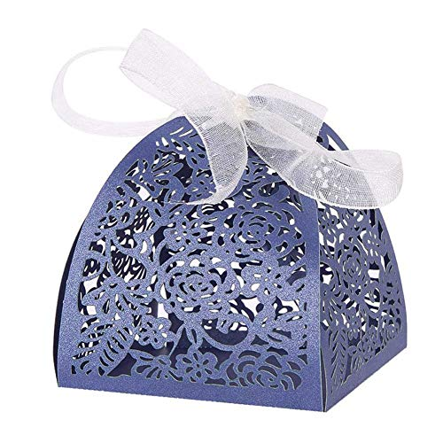 50pcs Laser Cut Rose Flower Candy Boxes 2.6''x2.6''x3.1'' Chocolate Candy Gift Ribbon Boxes Bonbonniere for Birthday Party Bridal Shower Anniverary Baby Shower Wedding Favor Decoration (Navy Blue)